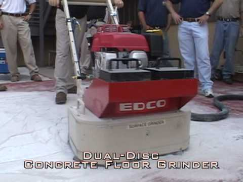 watch edco 2-disc concrete floor grinder in action - youtube