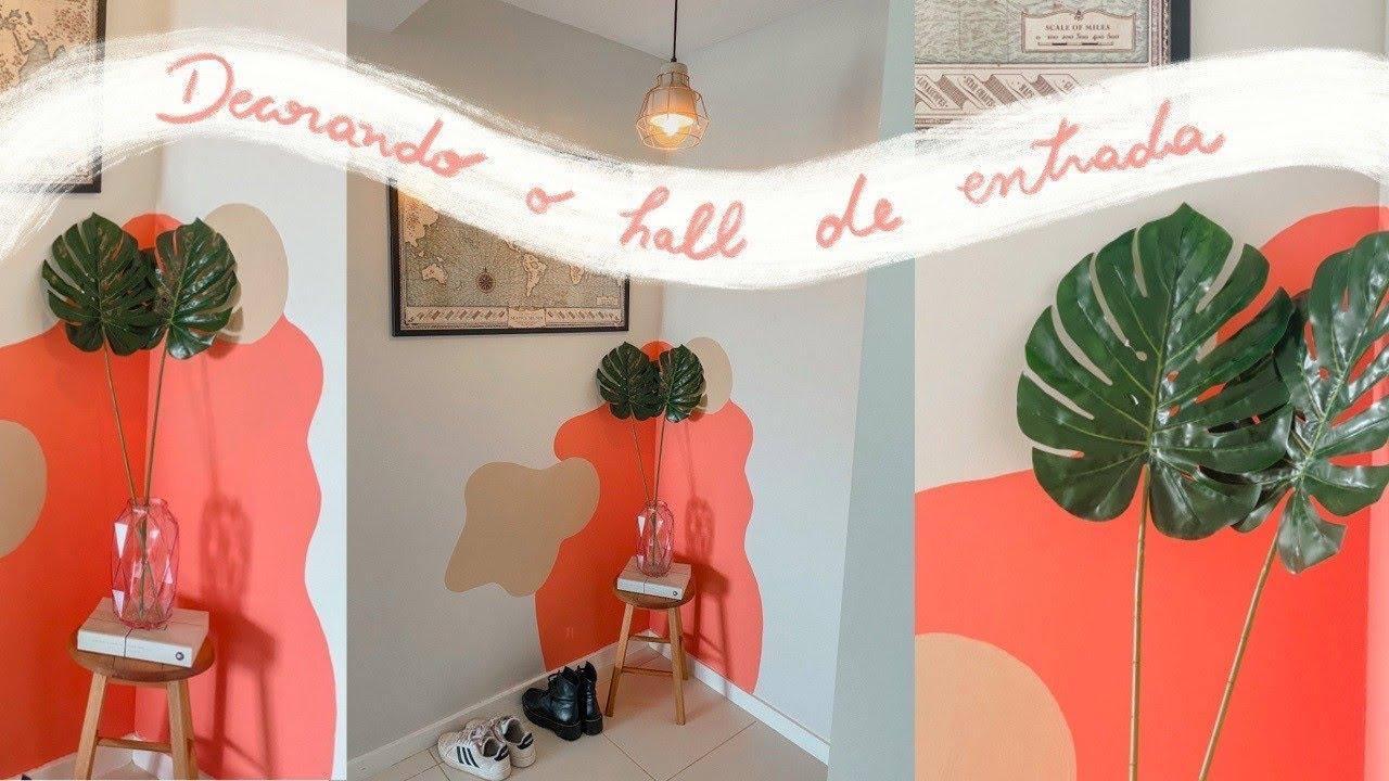 Decorando Hall de entrada com pouco - Pintura artística na parede   Studio Meu Casulo