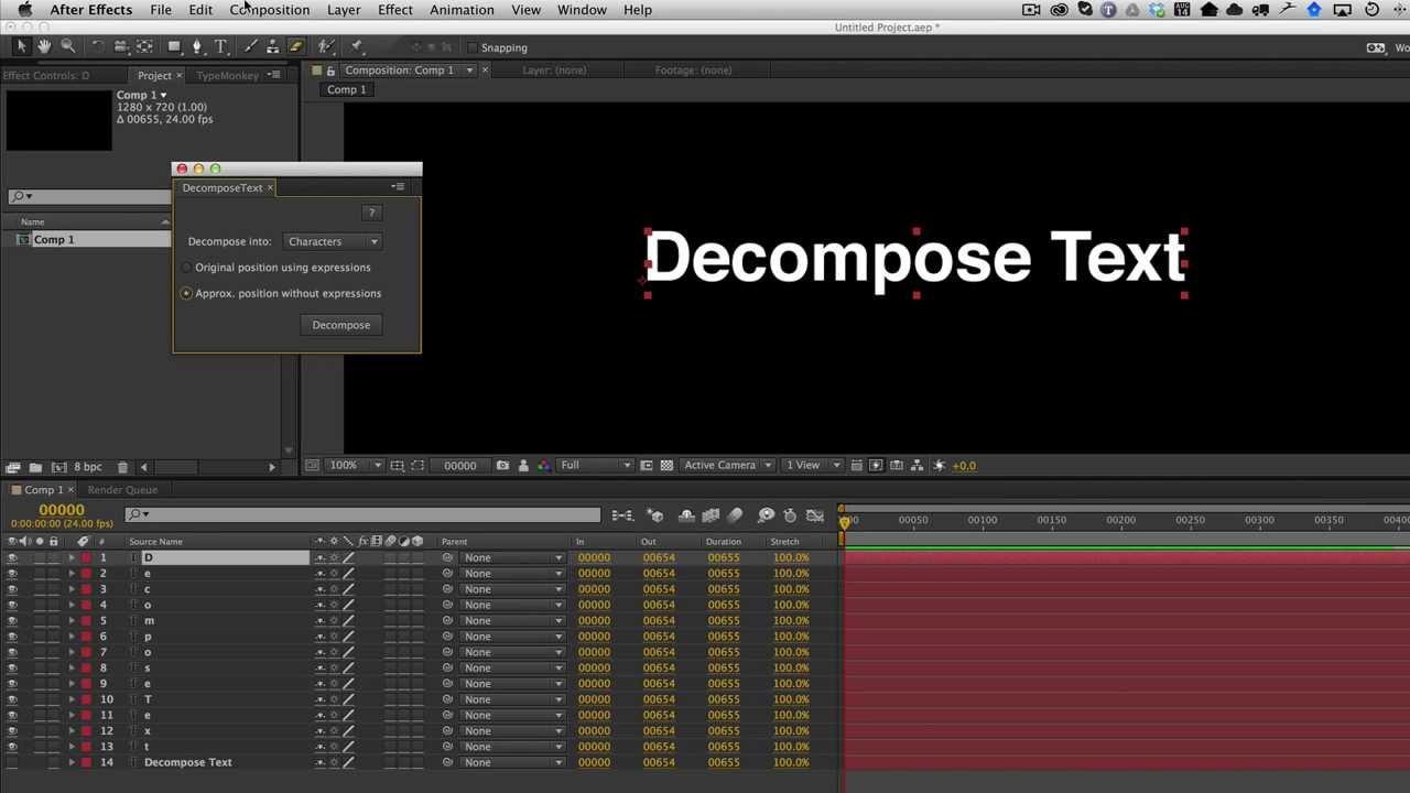 DecomposeText - aescripts + aeplugins - aescripts com