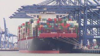 World's Largest Container Ship BARZAN (UASC) Unloads at Felixstowe, UK - Maiden Call (June 25, 2015)