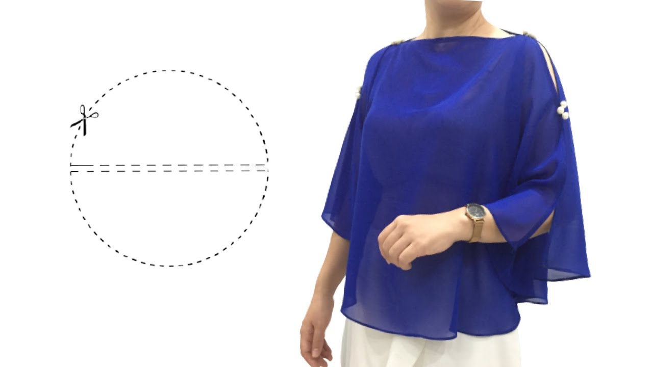 With only 1 seam - very easy Circular blouse cutting and sewing/batwing top/Butterfly sleeve blouse