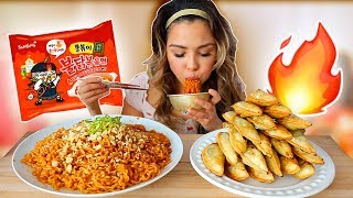 new spicy fried chicken ramen & fried crispy dumplings 불닭볶음면 쫄볶이 먹방 mukbang