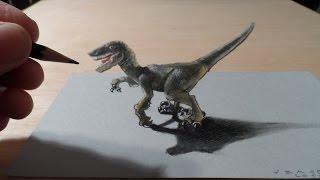 How I Drew a 3D Dreadful Raptor, Trick Art