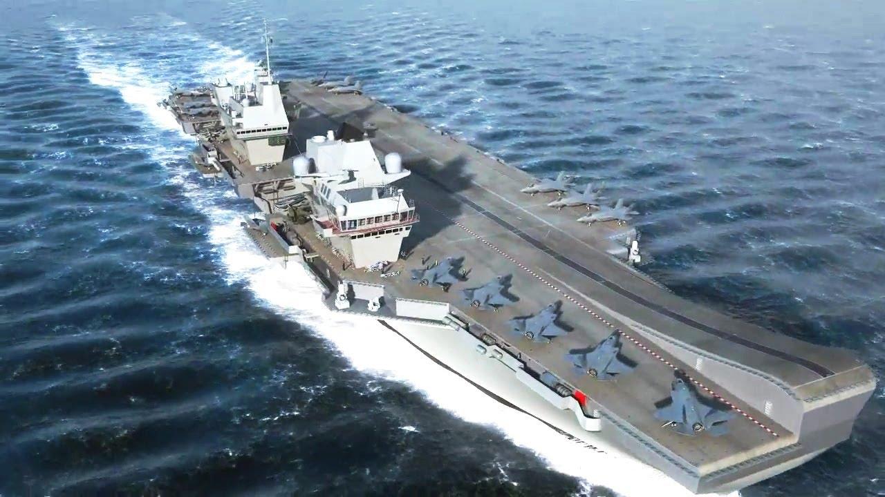 Hms Queen Elizabeth Progress >> Thales - Queen Elizabeth Class Aircraft Carriers Simulation [720p] - YouTube