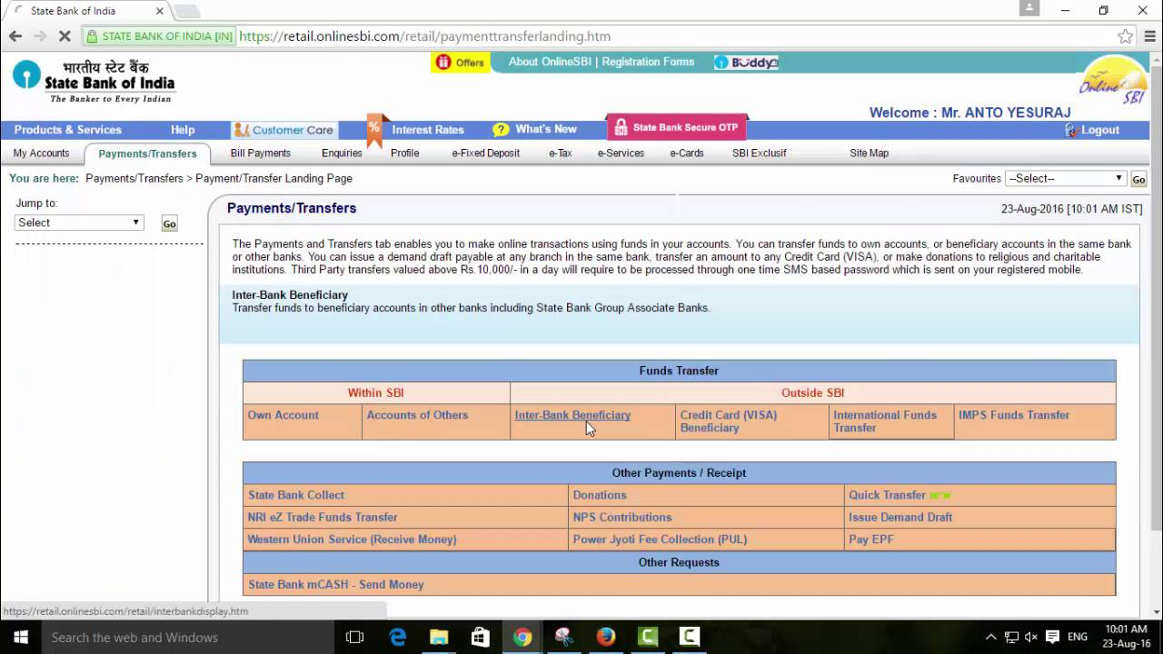 How To Transfer Money In Internet Banking Service For Sbi Sbt Sbm Sbp Banks Tamil Techguruji You