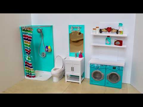 American Girl Doll Bathroom And Laundry Room Play Sets Review And Room Setup