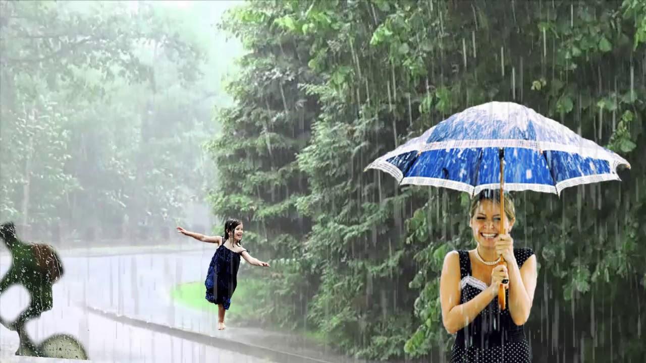 Картина погода в доме с зонтом с солнечным