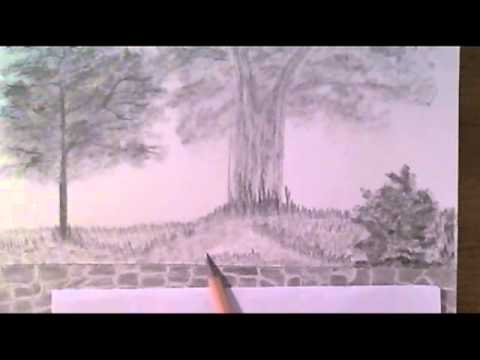 Drawing A Landscape Wall Part 4 - How To Draw Grass