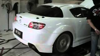 My RX8 doing dyno, with RE Amemiya dolphin exhaust, spitting fire, ...