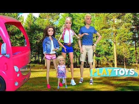 Baby Doll Camper! Play Barbie Dolls Pink RV Camping Car and Picnic Toys!