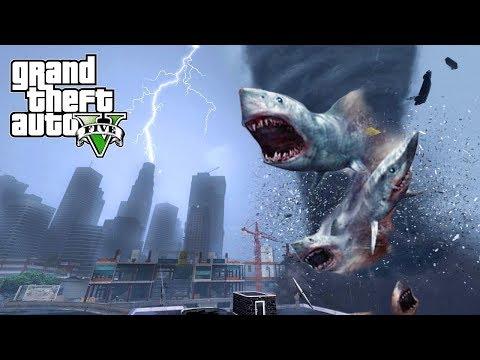 HUGE SHARKNADO HITS THE CITY!!! GTA V END OF LOS SANTOS MOD