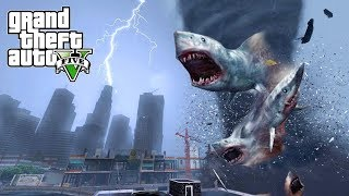 HUGE SHARKNADO HITS THE CITY!!! GTA V END OF LOS SANTOS MOD
