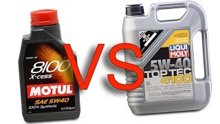 Motul 8100 X-cess 5W40 vs Liqui Moly top tec 4100 5W40 test