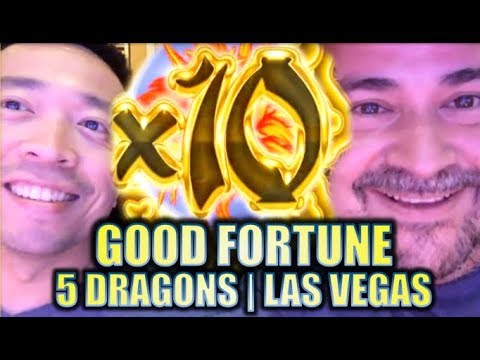 ★5 DRAGONS! GOOD FORTUNE★ SLOTTING w/ SLOT TRAVELER in LAS VEGAS! Slot Machine Bonus