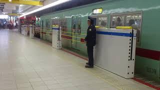 西鉄福岡(天神)駅のホーム柵作動の様子(201903)