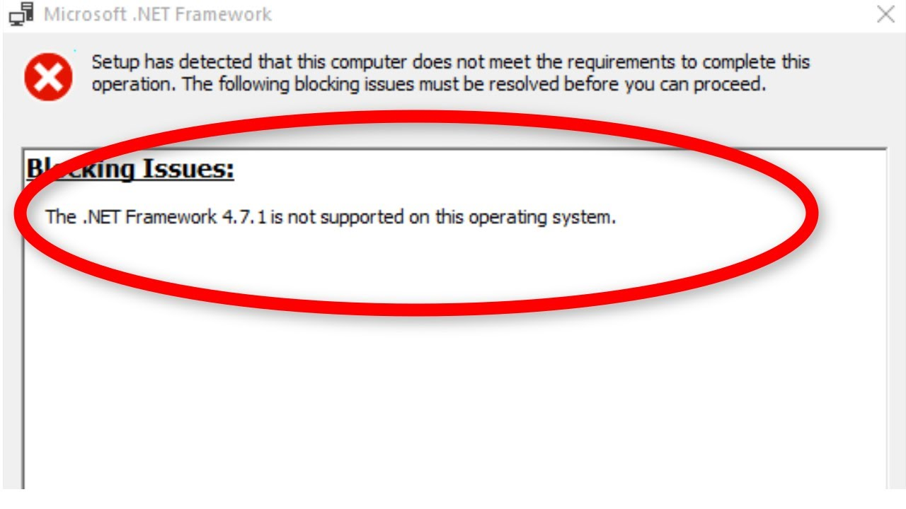 NET Framework 20.20.20 Is Not Supported On This Operating System Error On  Windows 200/20/20/20.20