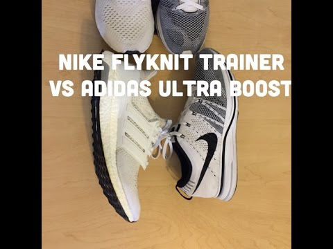 25eaee422 White Ultra Boost VS White Nike Flyknit Trainer   Review   On Foot ...
