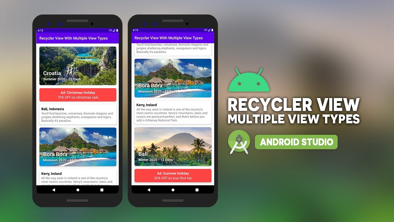 Android Recycler View With Multiple View Types Using Android Studio and Java
