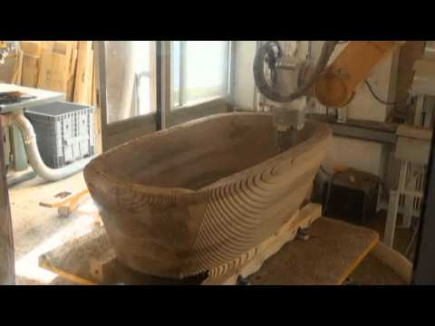 Miling a bathtub out of precious walnut wood