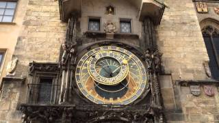 The Constellation Clock strikes 4 in Prague's Town Square