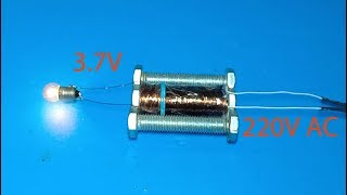 DIY making 220V to 3.7V Transformer using screws , amazing idea