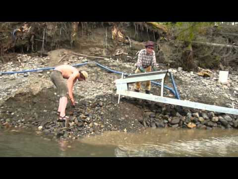 Goldmining on Stewart River, Yukon, Canada