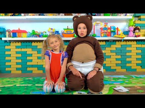 Маленькая Вера и Медведь Vlog Йога челлендж попробуй повтори