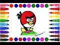 Draw Red From Angry Birds cartoon  || Learning Videos for Children