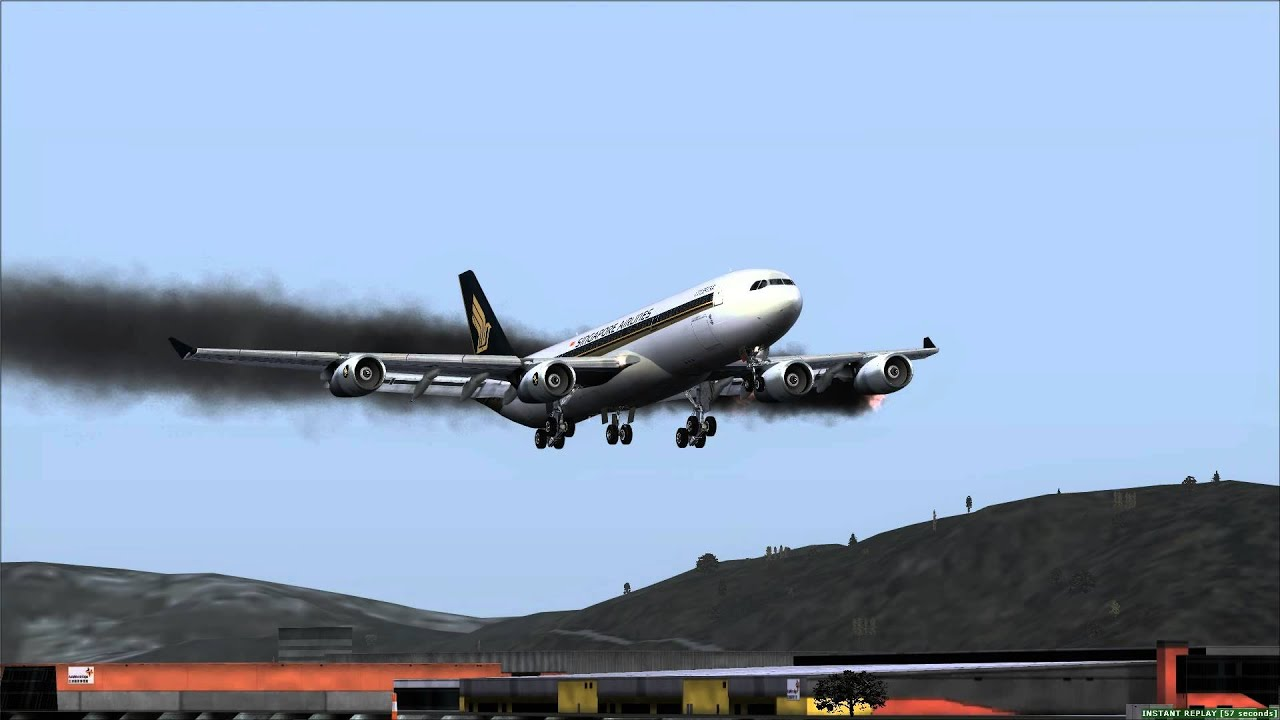 Airbus A340 Emergency 2 Engines on Fire Hong Kong (VHHH ...