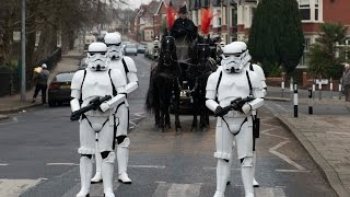 Stars Wars funeral with Stormtroopers with the coffin and at the church
