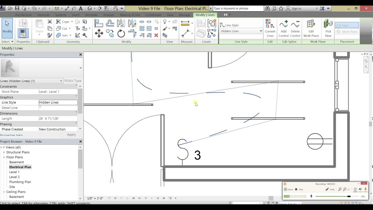 beginner tutorial 10 autodesk revit 2016 making an electrical electrical plan in revit [ 1280 x 720 Pixel ]