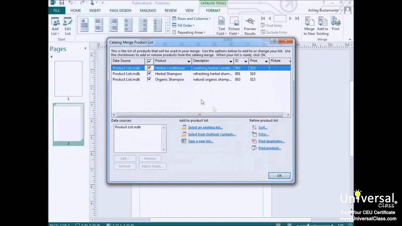 Creating a Catalog in Microsoft Publisher 2013 - YouTube