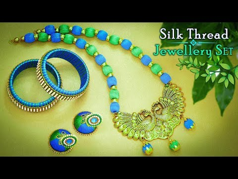 How To Make Peacock Pendant Silk Thread Jewellery Set | Necklace, Bangals, Earrings
