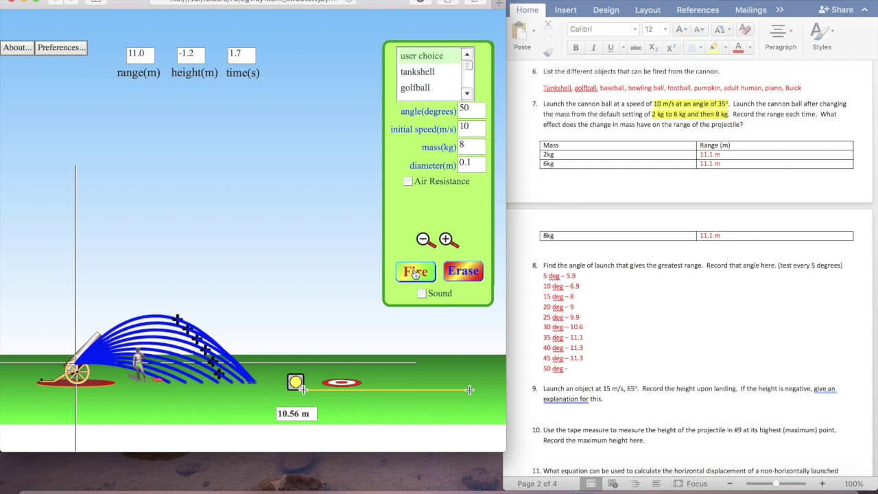 Projectile Motion Lab - YouTube