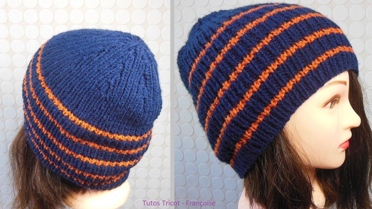 Tuto tricot bonnet enfant côtes 1 1 (8 - 10 ans)   Bonnet enfant mixte  étape par étape 451004ed39b