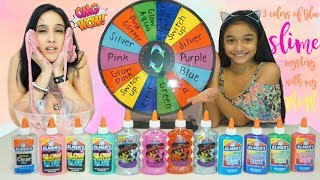 Mystery Wheel of Slime Challenge with Switch Up and with 3 Colors of Glue Slime Challenge