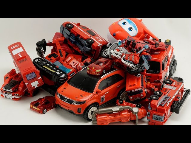 HelloCarbot Red Car Robot Transformers Tobot, Excavator, truck, cranes, boat #трансформеры Cars Toys