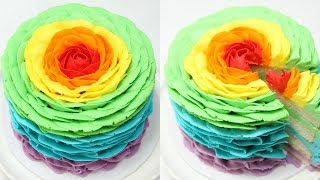 How To Make A RAINBOW ROSE CAKE! - CAKE STYLE