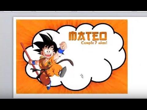 Como Diseñar En Office Word Invitacion De Goku