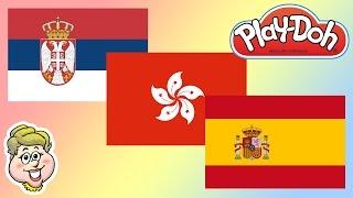 Play-Doh Flags! Serbia, Hong Kong, and Spain!  EWMJ #211