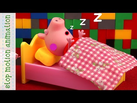 Lego house Peppa Pig TV toys stop motion animation in english