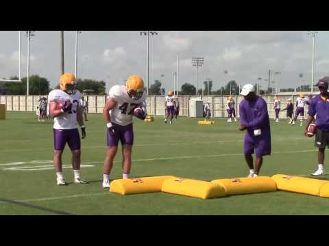 LSU running back Leonard Fournette and other Tiger running backs work on a drill Wednesday | Video