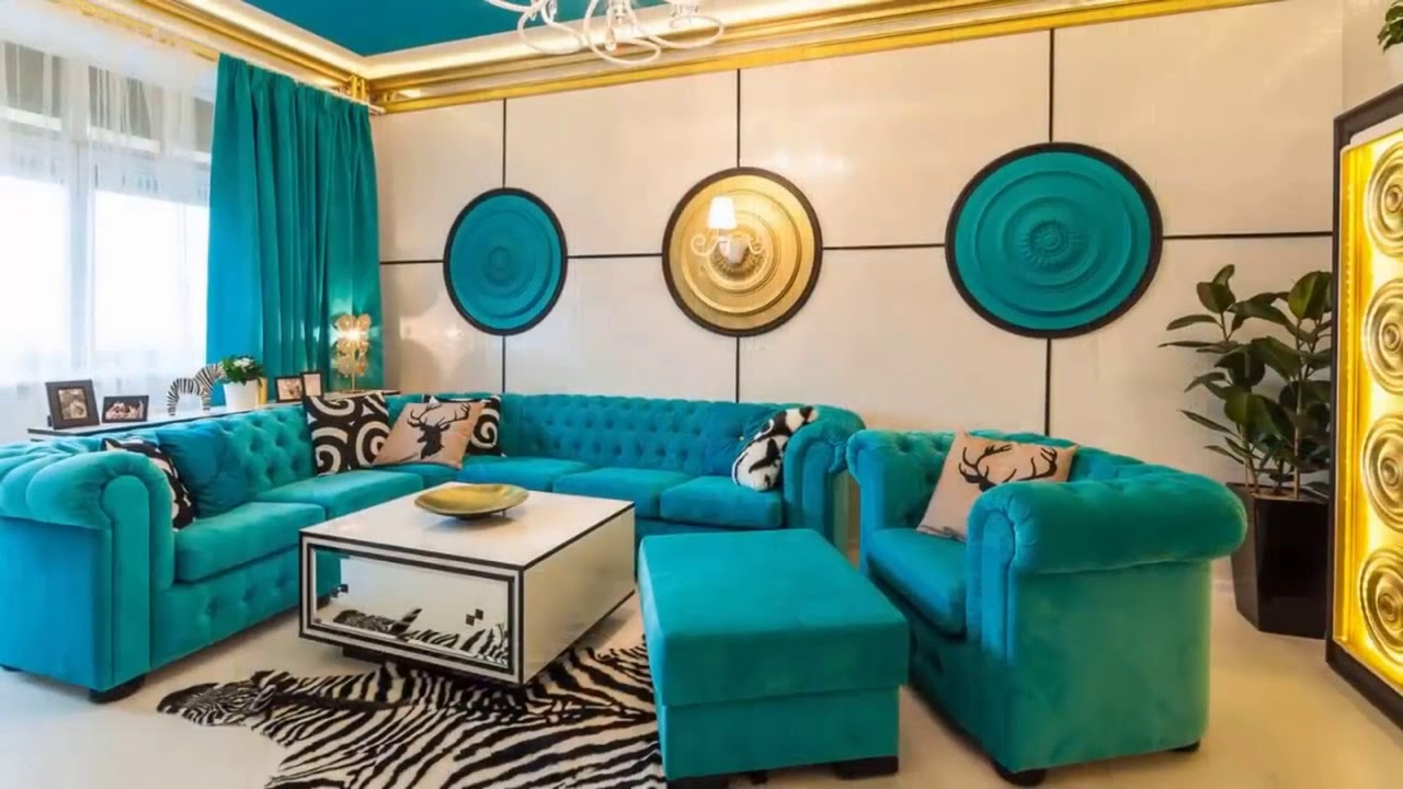 Turquoise Sofa A Bright Element In, Turquoise Living Room