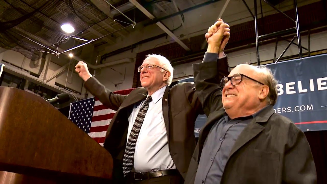 Image result for danny devito with bernie Sanders