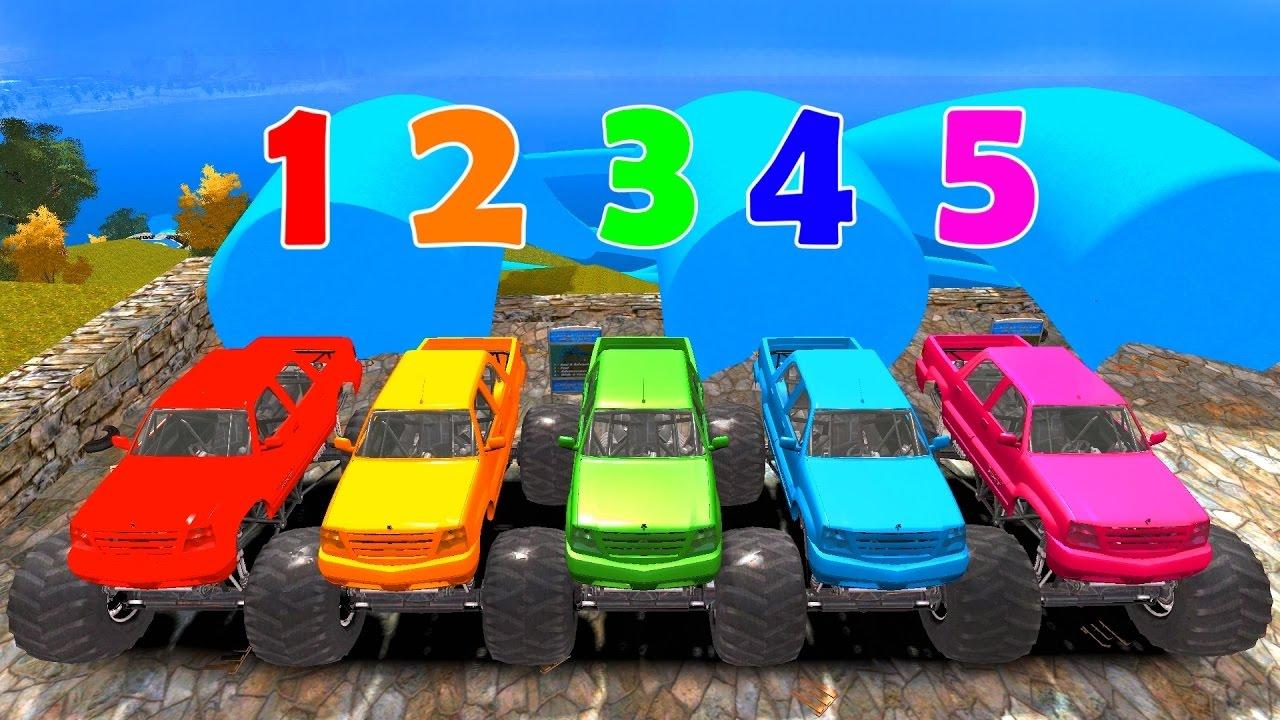 Monster Truck Cars für Kinder lernen Zahlen und lernen Farben für ...
