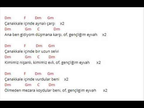 Anonim Türküler - Çanakkale - Akor (Kolay ve Orjinal Ton)