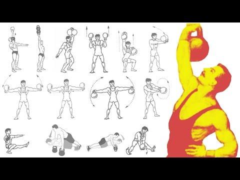 Силовые упражнения с гирями! Тренировка дома.  Начало… Total Body Kettlebell workout at home!