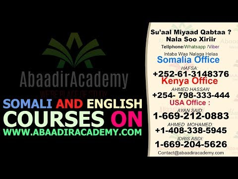 Somali and English Courses on www.AbaadirAcademy.com
