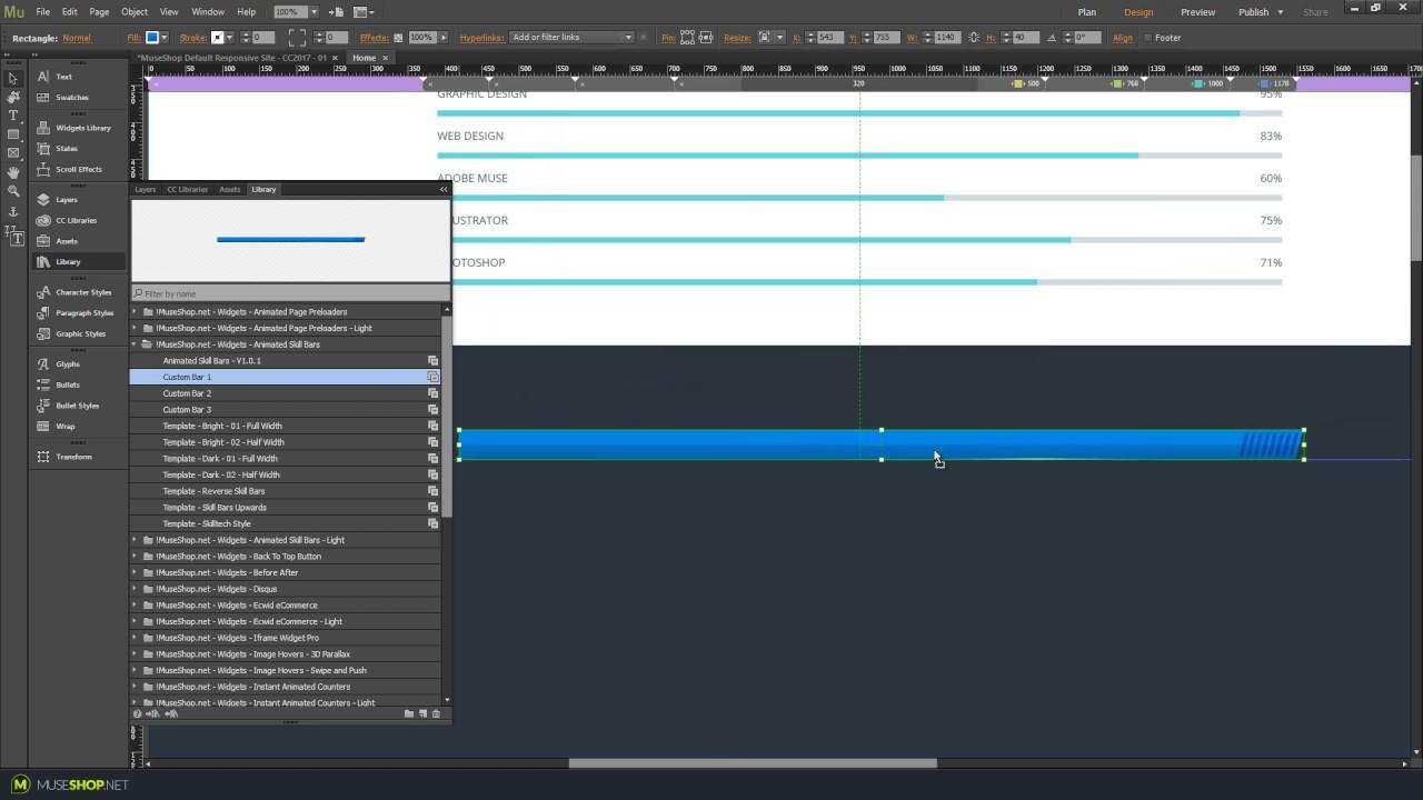Animated Skill Bars in Adobe Muse CC | Widget Tutorial | MuseShop net