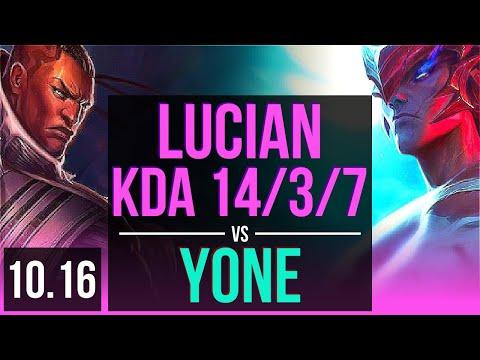 LUCIAN vs YONE (MID) | 3 early solo kills, KDA 14/3/7, Legendary | KR Grandmaster | v10.16